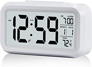 Digital Alarm Clock,Battery Operated Small Desk Clocks,with Date,Indoor Temperature,Smart Night Light,LCD Electronic Clock for Bedroom Home Office - White
