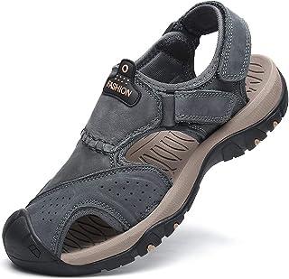 Flarut Sandalias Deportivas Hombres Verano Exterior Senderismo Zapatos Trekking Casual Zapatos de Montaña Cuero Sandalias ...