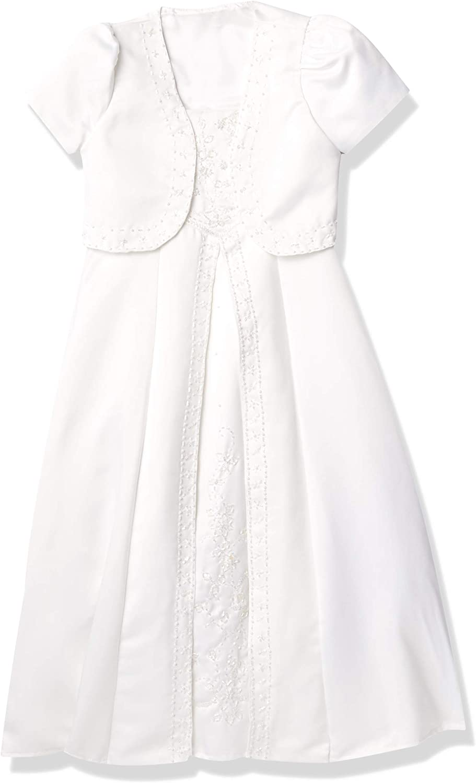 Pretty Me, USA Girls' Sleeveless Beaded Satin Communion Dress with Jacket