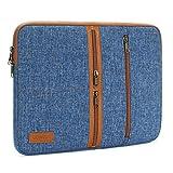 DOMISO 10 Pulgadas Laptop Sleeve Canvas Notebook con Cremallera Tablet Bolsa Bolsa de 3 Capas de protección de la Bolsa 3 Bolsillos para 12'MacBook3 / 10.8' Microsoft Superficie 3, Azul