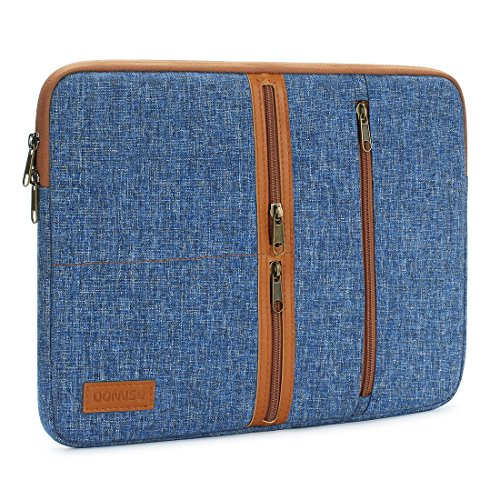 DOMISO 14 Inch Laptop Sleeve Canvas Notebook with Zipper Tablet Pouch Cover 3 Layer Protection Bag 3 Pockets Case for 12' MacBook3 / 10.8' Microsoft Surface 3 , Blue