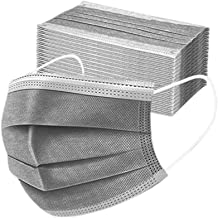 Disposable 3ply Face Mask Elastic Earloop Mouth Face Cover Sanitary Masks Safety,Anti-spittle,Protective Dust(Grey,50pcs)