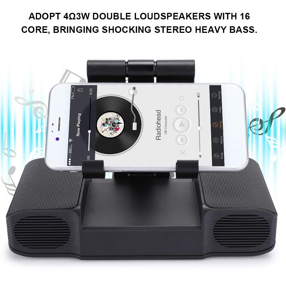 Amazon Com T Angxi 3 In 1 Wireless Phone Speaker Heavy Bass Stereo Bluetooth Speaker With Phone Tablet Mini Projector Bracket Mobile Power Multifunctional Loundspeaker Support Microphone Black Electronics