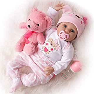 TiaNara Reborn Baby Doll with Toy Bear, Brown Wig Realistic Newborn Girl Doll in Gift Box Gift for 3 4 5 6 Year Old Girls (Pink, 22 Inches)