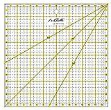 La Canilla  - Regla Cuadrada de Pachwork 16x16cm (Amarilla) de Acrílico para Costura, Manualidades, Quilting y Patronaje Antideslizante
