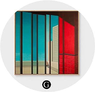 クリエイティブアールデコ絵画現代のリビングルームのポーチ絵画北欧レストラン寝室の壁の絵画,Gセクション,80X80CM(ゴールデンフレーム)