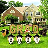 Ruisita 10 Pieces Black and Gold 2021 Grad Yard Signs Party Outdoor Lawn Decorations Graduation Yard Signs with 20 Stakes for Graduation Party Supplies Decorations