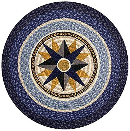 "Earth Rugs Round Rug, 27"", Dark Blue/Light Blue/Crème"