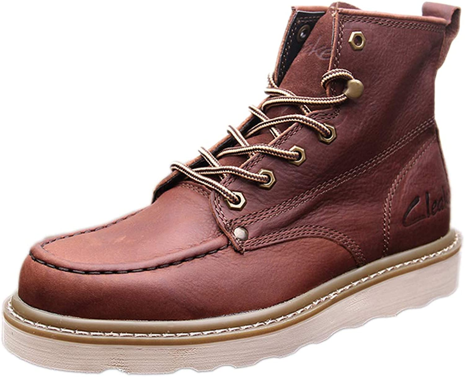 Snfgoij Work shoes Men Trainers Waterproof Anti-Slip Casual Autumn Martin Boots Casual Leather High Top Booties,Brown-39