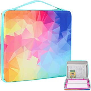 Hearoo Hard Travel Carrying Storage Case for Crayola Light-up Tracing Pad, Large Capacity for Tracing Pencil, Sheets and Other Accessories (Rainbow)