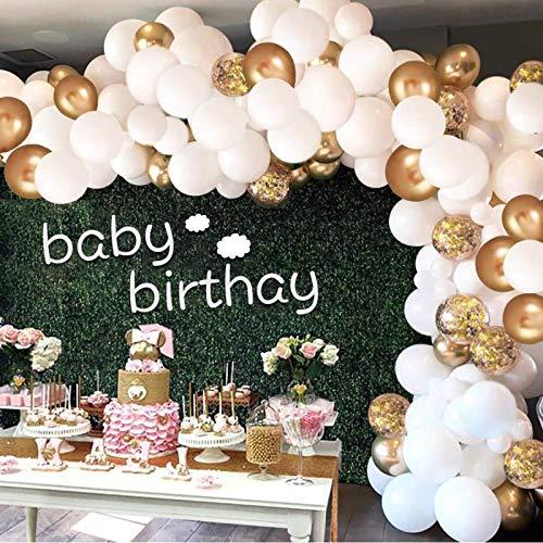 Luftballons Gold Weiß, Aivatoba Luftballon Girlande Gold Konfetti Ballons Matellic Latex Helium Ballons Deko für Babyparty, Hochzeit Mädchen Kinder Geburtstag Party Dekoration Silvester Deko