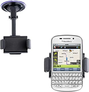Gomadic Brand Ultra Compact Flexible Car Auto Windshield Holder Mount designed for the Blackberry Q10 - Gooseneck Suction Cup Style Cradle