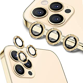 Wsken for iPhone 12 Pro Max (6.7 inch) Camera Lens Protector, Glitter HD Tempered Glass Aluminum Alloy Lens Screen Stiker ...