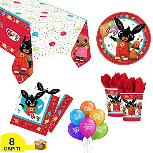 ocballoons Kit Festa Compleanno Bing 53pz (8 Persone) Tavola Party Addobbi e Decorazioni 8 Piatti 8 Bicchieri 16 Tovaglioli Tovaglia Palloncini 20pz Set addobbi Decorazioni per Feste