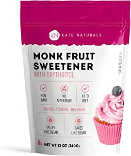Monk Fruit Sweetener with Erythritol Blend (12oz) by Kate Naturals. 1:1 Natural Sugar Replacement. Non-GMO, Gluten Free, Zero Calorie, Low Carb & Keto Friendly. No Aftertaste. 1-Year Guarantee.