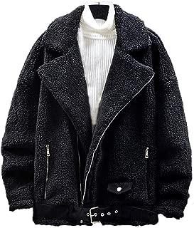 IZHH Mens Fleece Jacket Lamb Wool Blend Coats Warm Winter Overcoats Outwear