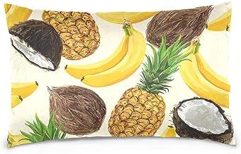 Mydaily Banana Coconut Pineapple Summer Throw Pillow Case Cotton Velvet Rectangular Cushion Cover 16x24 inch