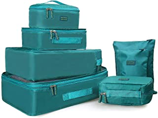Wocharm 6 Sets Travel Organizer Packing Cubes Luggage Bag Shoe Bags Toiletry Bag
