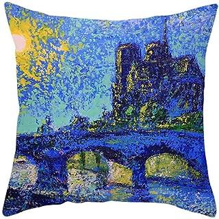 TIFENNY Retro Cushion Cover London Paris City Street Scenery Print Pillowcase Home Decor Cushion Cover