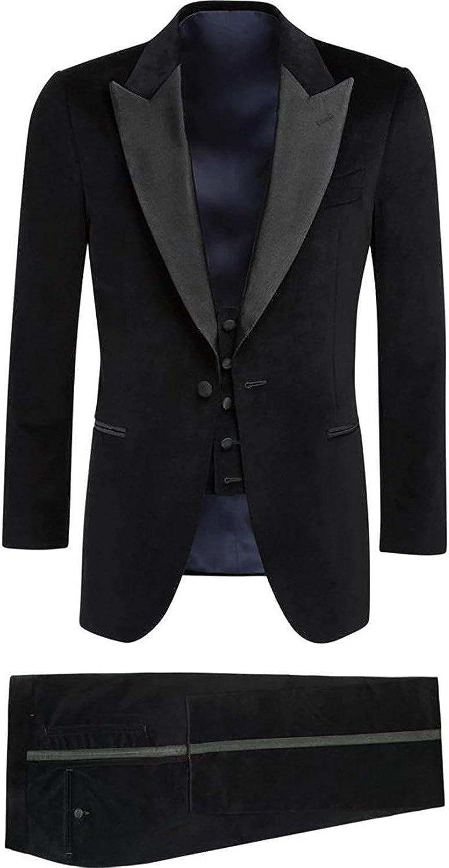 SHENLINQIJ Men's One 3-Piece Button Notch Lapel Slim Fit Suit Blazer Jacket Tux Vest & Trousers Set
