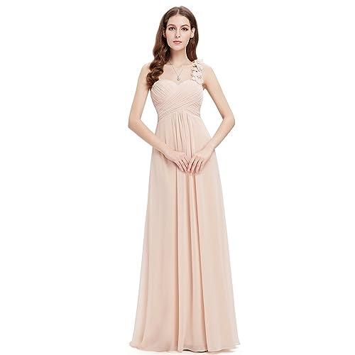 102407398b2 Ever Pretty Women s Flower Ruffles One Shoulder Bridesmaid Dresses for  Women 09768 White