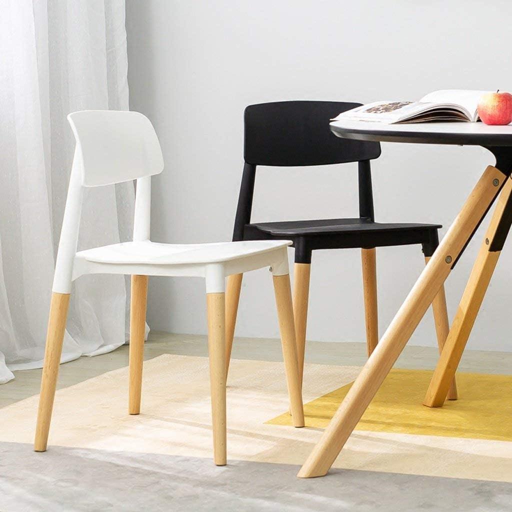 QNN Accueil Moderne Minimaliste En Bois Massif Chaise de Dossier Paresseux Nordique Décontracté Maison Mode Net Chaise Rouge Chaise,Blanc Noir