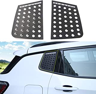 JeCar Aluminum Alloy Rear Triangle Glass Decoration Cover for Jeep Compass 2017 2018 2019 2020 (Black)