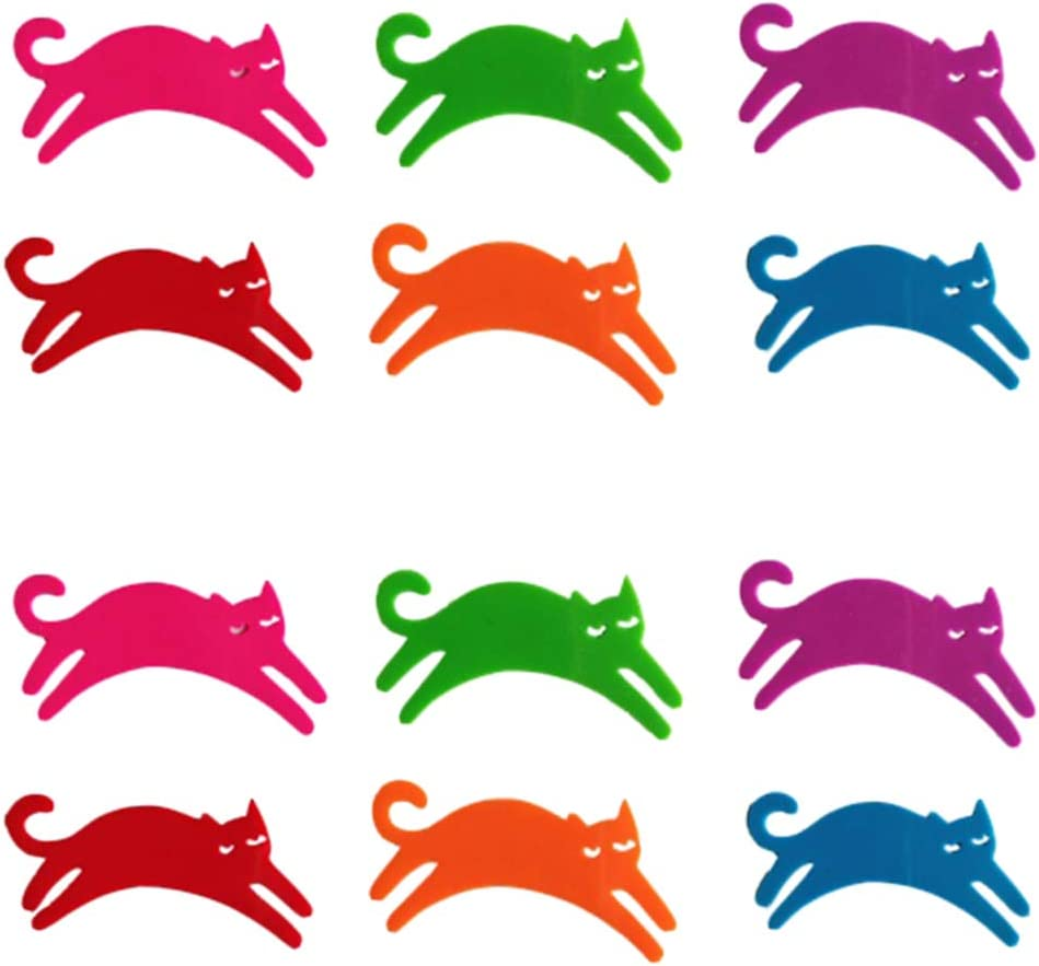 DOITOOL Wine Glass Charms Very popular Markers 12PCS Cat Silicone 6 Colors D Max 49% OFF