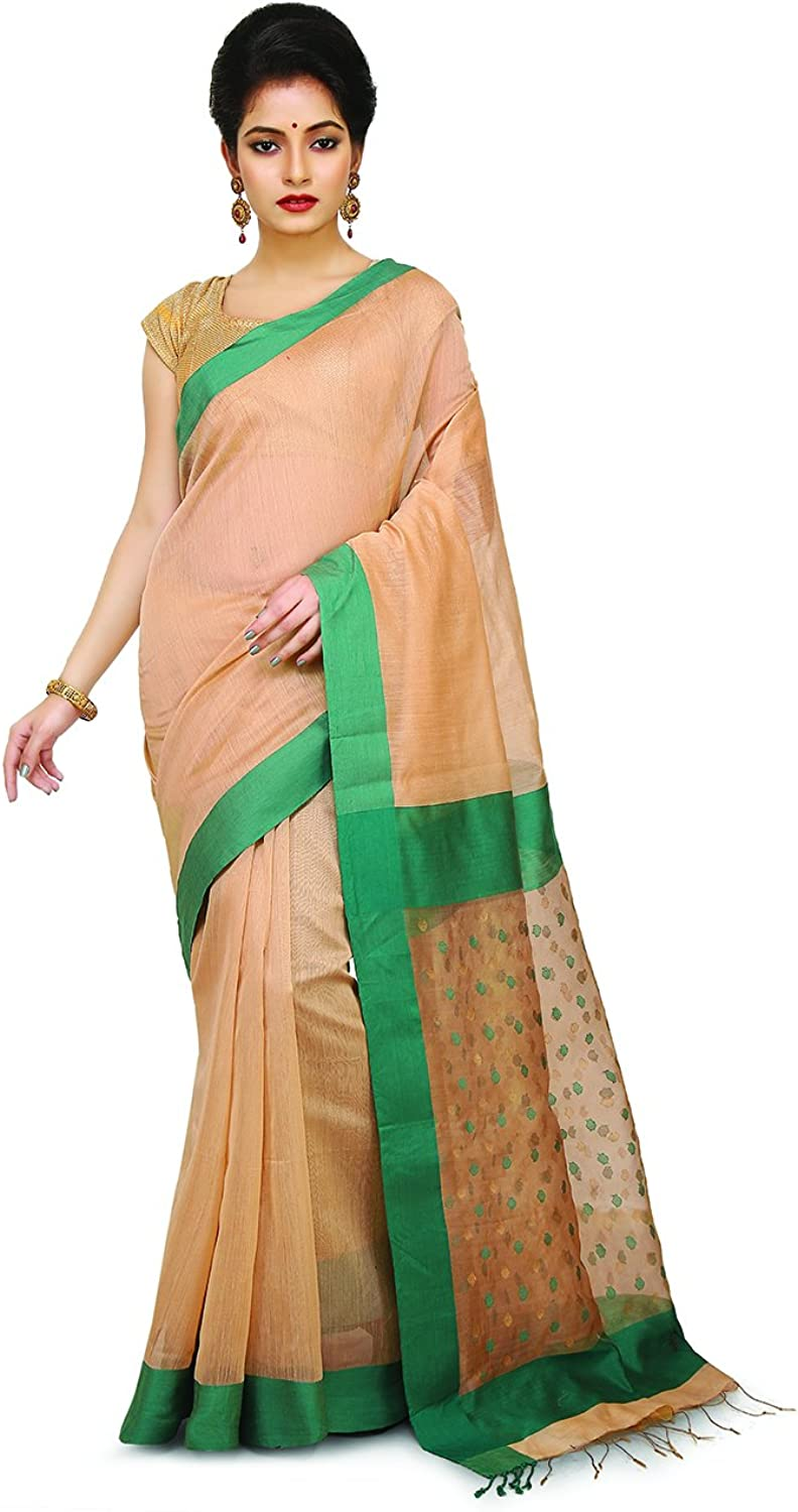 Maahir Garments Exclusive Indian Ethnicwear Pure Silk and Cotton Beige Coloured Handloom sico Saree