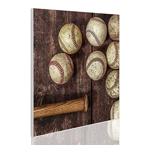 BANJADO Design Magnettafel   magnetische Pinnwand weiß   Metall Memoboard 50cm x 50cm mit Motiv Vintage Baseball