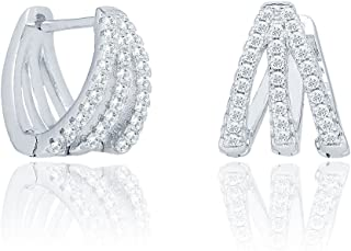 Cate & Chloe Aliyah 18k White Gold Round Cut CZ Crystal Pave Huggie Hoop Earrings, Unique Silver Crystal Small Hoops for Women, Pave Cluster Earring Set, Wedding Anniversary Jewelry