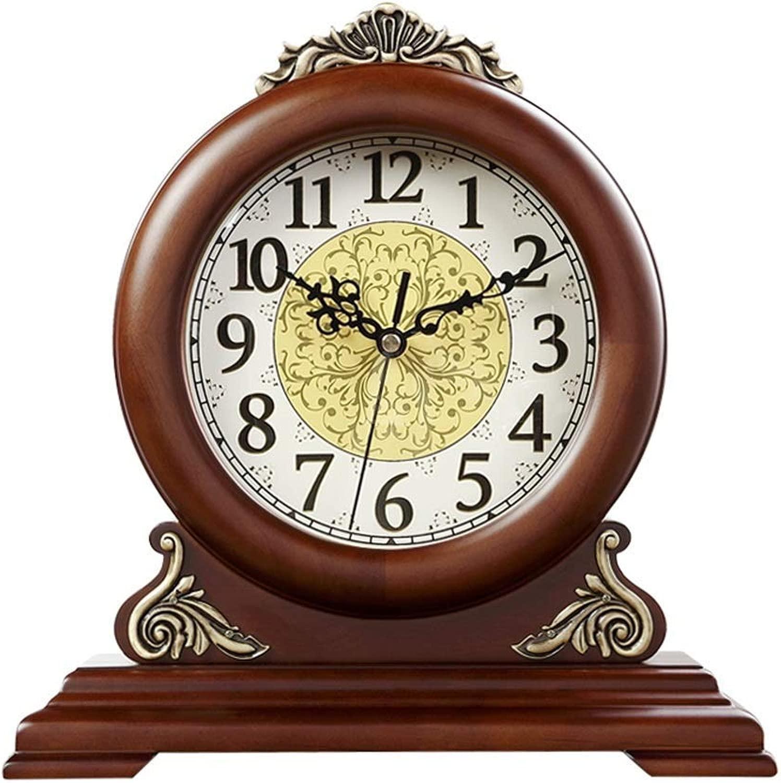 机上時計ファミリークロック、木材の刻々としたサイレントマントルクロック装飾的な寝室のリビングルームの置時計リビングルームの寝室に適していますオフィス(色:褐色)