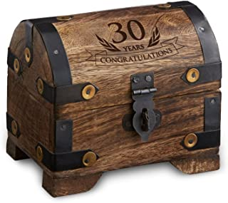 "Casa Vivente - Engraved Treasure Chest for 30th Birthday - Dark Wood - Vintage Jewelry Box - Money Box - Wooden Storage Box - Birthday Present Ideas - Gifts for Her - 4"" x 3"" x 3.5"""