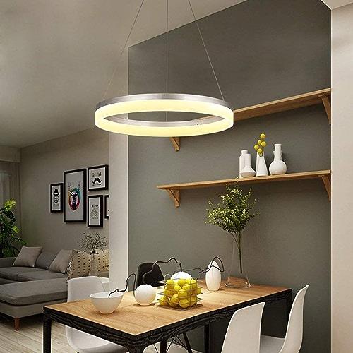 SGWH Moderne LED Pendentif Lumière Minimalisme Pendentif Lustre Salon Créatif Salle à Manger étude De Chambre à Coucher Lampe Suspendue élégant Rond Acrylique Fer Métal Plafond Décoratif éclairage Lum