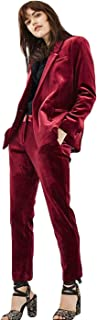 2019 Burgundy Velvet Ladies Office Uniform Pant Suits for Women Business Suits 2 Piece Set Women Tuxedo Designs