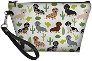 Renewold Cactus Print Makeup Bag Dachshund Print Cosmetic Purse Waterproof Zipper Closure Brush Holder