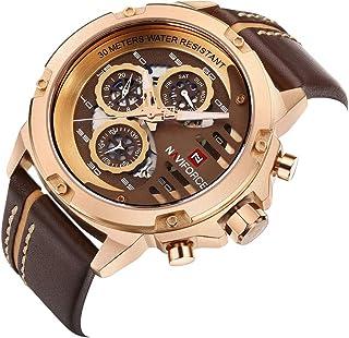 NAVIFORCE Fashion Casual Quartz Watch 3ATM Water-resistant Men Watches Luminous Genuine Leather Wristwatch Male Relogio Musculino Calendar