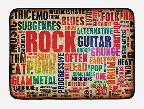 """Ambesonne Music Bath Mat, Retro Rock Roll Lettering Grunge Distressed Colors Back Then Sound Music Theme, Plush Bathroom Decor Mat with Non Slip Backing, 29.5"""" X 17.5"""", Red Orange"""