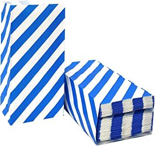 Blue Striped Paper Bags Mini Party Favor Bags for Kids Birthday Party Supplies by ADIDO EVA (50 CT 3.5×2.3×7 in)