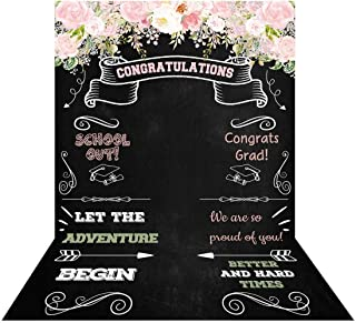 Allenjoy 5x7ft Congratulate Graduation Backdrop Class of Congrats Grad Floral Chalkboard for College Prom Pictures Dessert Table Party Supplies Ceremony Decor Banner Event Photo Booth Shoot Background