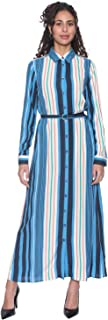 Defacto Striped Waist Belt Front Buttons Polyester Maxi Dress for Women - Blue and White, 34