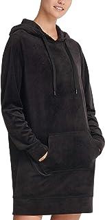 D K N Y Sport Velour Logo-Print Hoodie Sweatshirt Dress Black S