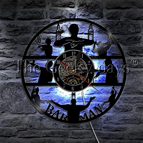 Adult Nachtlicht Projektor 1 Barkeeper Bierflasche Akrobatik LED Wandleuchte Schallplatte Wanduhr Taverne Barkeeper Getränk Wanduhr moderne Lampe blau Tischlampe Basis