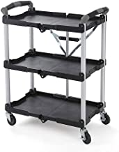 Olympia Tools 85-188 85-188 Pack-N-Roll Folding Collapsible Service Cart, 65 Lb/Level, Abs, Steel, Aluminum, Rubber, 1 Pack, Black