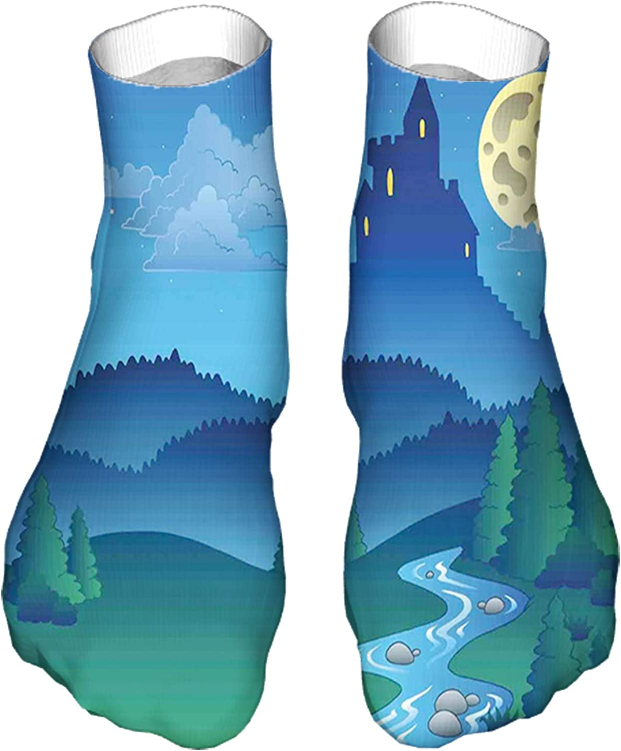 Men's and Women's Fun Socks Printed Cool Novelty Funny Socks,Lonely Castle on The Hill Beyond The Mountains and Full