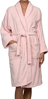 Superior Hotel & Spa Robe, 100% Premium Long-Staple Combed Cotton Unisex Bath Robe for Women and Men - Large, Pink