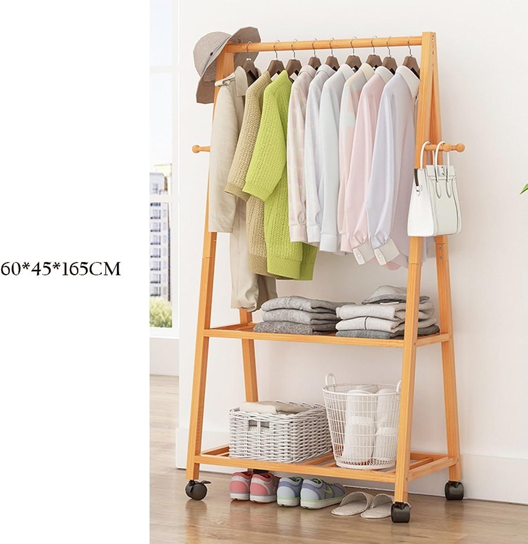 ZHIRONG 3 in 1 Coat Rack Fashion Floor-Standing Multifunction with Wheels Storage Racks Hangers Bedroom Clothes Rack Living Room Bamboo Arts Wardrobe shoes Rack (Size   60  45  165cm)