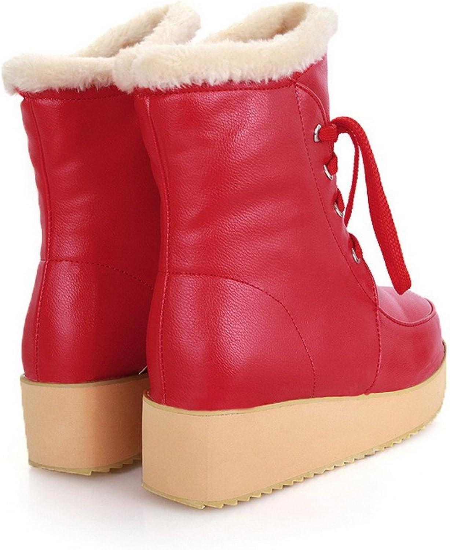 AmoonyFashion Girls Closed Round Toe Kitten Heels PU Short Plush Solid Boots with Platform, Red, 10 B(M) US