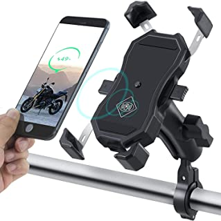 Auto Clamping Motorcycle Phone Mount Wireless Charger USB Quick Charging 2 in 1 Handlebar Cell Phone Holder 9CM Stem Mount...