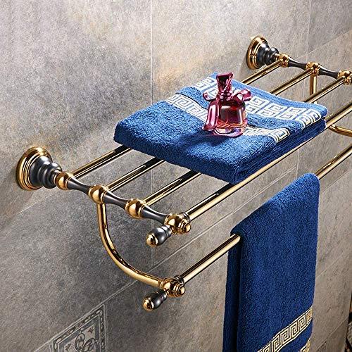 Estante de ba?o toallero de pared de 60 cm / 23 pulgadas Toallero de latón industrial antiguo Toallero de ba?o antiguo con albornoz colgante grabado, ducha de perforación de pared de estilo retro
